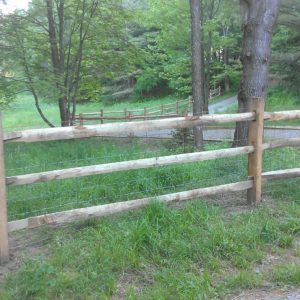 Old Fashioned hardwood rail with woven wire